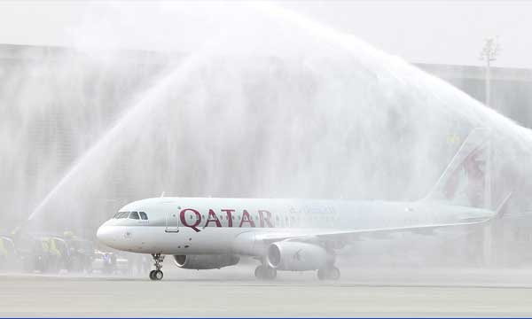 Qatar Airways marks the opening of Hia with the touch-down of flight QR7450