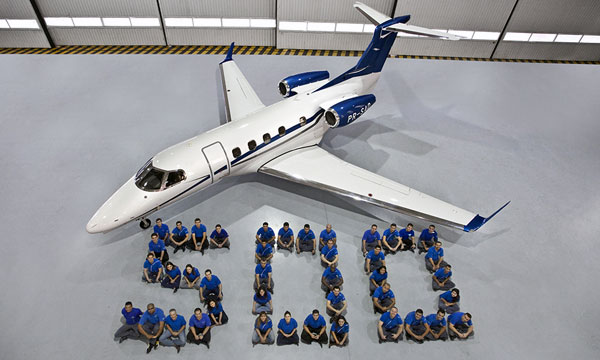 Embraer celebrated the delivery of the 500th Phenom family jet