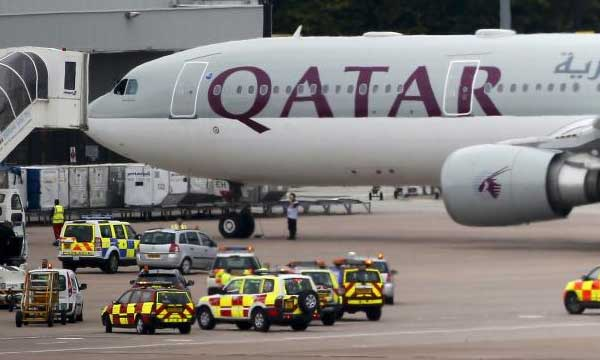 Jets escort Qatar Airways plane into Manchester airport after bomb threat