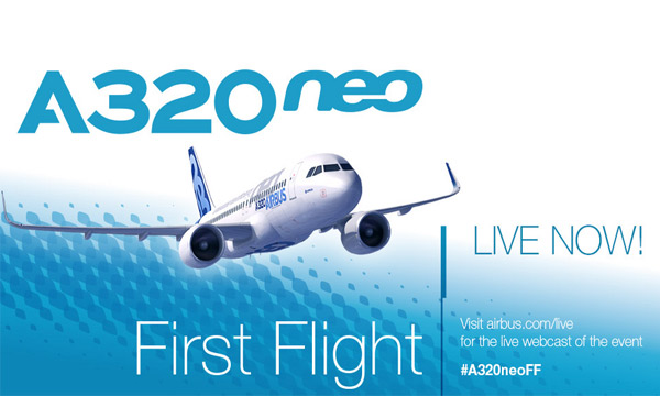 Replay the live webcast of the Airbus A320neo first flight