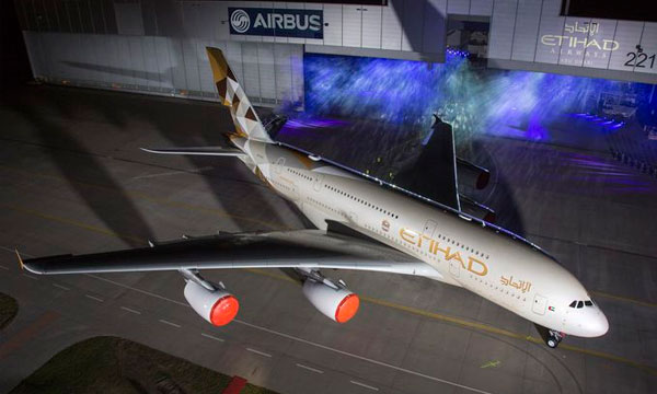 Etihad Airways receives new livery on first A380 aircraft