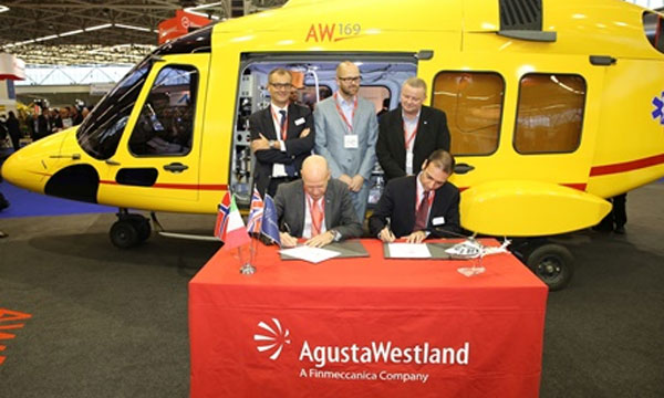 Norsk Luftambulanse signs for an AgustaWestland 169