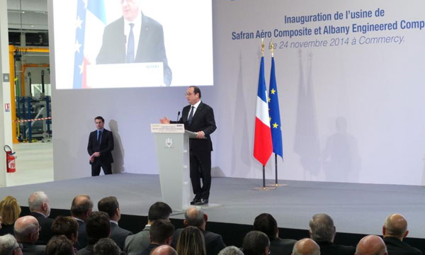 French President François Hollande inaugurates new Safran/Albany production plant in eastern France