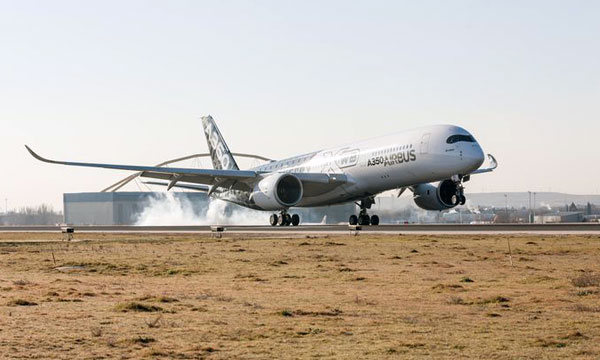 Airbus A350 XWB makes its début at Madrid-Barajas airport