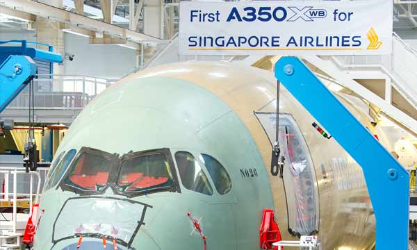 Singapore Airlines' first A350 XWB takes shape