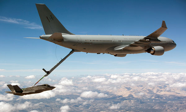 Royal Australian Air Force Airbus A330 MRTT refuels F-35 fighter