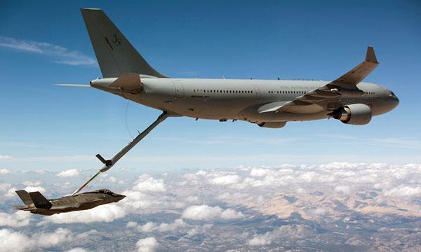 Royal Australian Air Force Airbus A330 MRTT refuels F-35 fighter